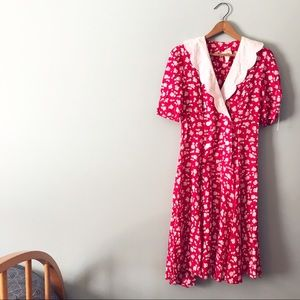 [Vintage] Patty O'Neil Red Flower Dress Drop Waist